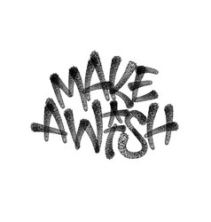 make a wish lettering spray paint tag black vector image