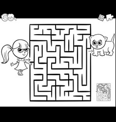 Maze with girl and cat for coloring vector
