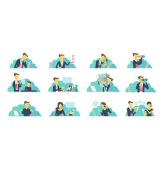 office set of situations everyday tasks at work vector image