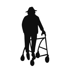 Old man walking with rollator vector