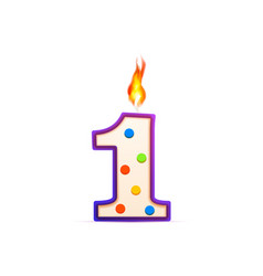 one year anniversary 1 number shaped birthday vector image