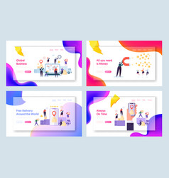 Online global world delivery concept landing page vector