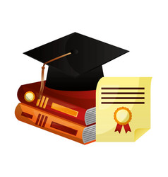 parchment diploma and hat graduation with books vector image