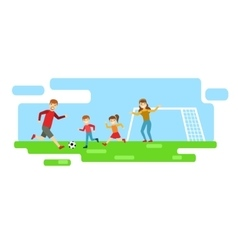 Parents And Kids Playing Football Happy Family vector image