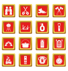 Recreation tourism icons set red vector