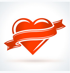 red heart with ribbon st valentines day design vector image
