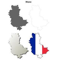 Rhone rhone-alpes outline map set vector