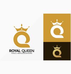 Royal queen logo design abstract emblem designs vector