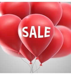 Sale label and flying balloon bunch vector image