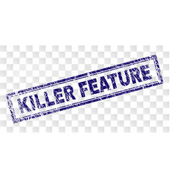 Scratched killer feature rectangle stamp vector