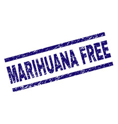 Scratched textured marihuana free stamp seal vector