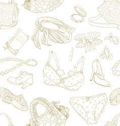 Seamless pattern of female subjects vector image