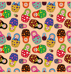 Seamless pattern with cute matryoshka vector