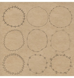 Set of decorative wreaths doodle Nine vector image