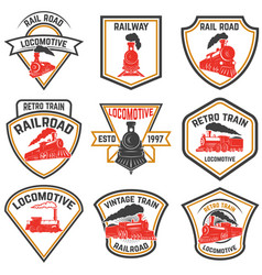 Set of emblems templates with retro train vector