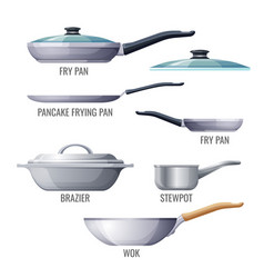 set of metallic pans and kitchen utensils sketchy vector image