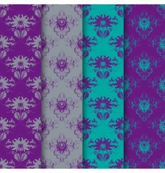 Set of seamless damask ornament vector image