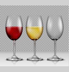 Set transparent wine glasses empty vector