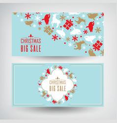 set two christmas sale banners vector image