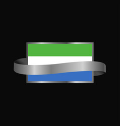 sierra leone flag ribbon banner design vector image