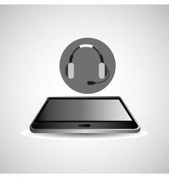 Smartphone black lying headphones icon design vector