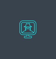 Spyware concept blue line icon simple thin vector
