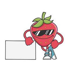 Strawberry with sunglasses leaning on sign vector