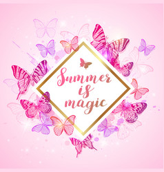 summer background with pink and violet butterflies vector image