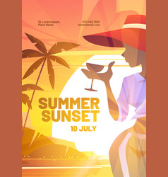 summer sunset poster with silhouette woman vector image