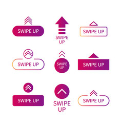 Swipe up icon drag arrow for scroll story vector