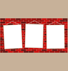three hanging white sheet of paper notes vector image