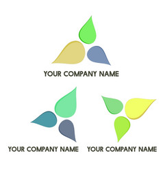 three leaves company logo set vector image