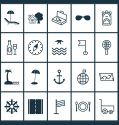 Tourism icons set collection of sunrise ship vector