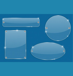 Transparent plate on blueprint grid vector