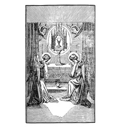 Two angels or cherubs pray to altar with host vector