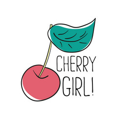 typography graphic slogan cherry girl vector image