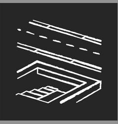 Underground pedestrian walkway chalk white icon vector