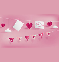valentine day paper craft concept vector image
