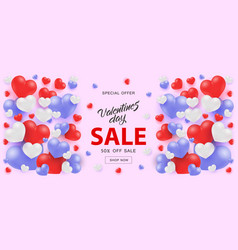 Valentine day sale horizontal banner with white vector