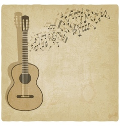 Vintage music guitar background vector image