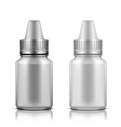white and silver plastic bottle for eye drops vector image