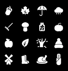 white autumn icons set vector image