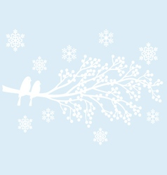 winter tree with berries and birds vector image