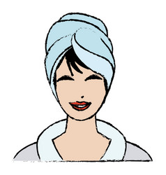 Woman with towel on head spa treatment vector