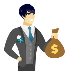 Young asian groom showing a money bag vector