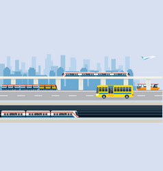 city public transport and transit vector image vector image