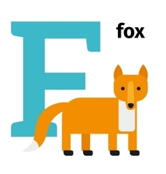 English animals zoo alphabet letter F vector image vector image