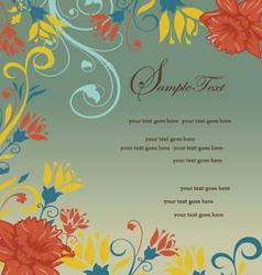 vintage orange floral invitation card vector image