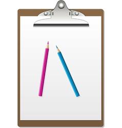 clipboard and pencils vector image vector image