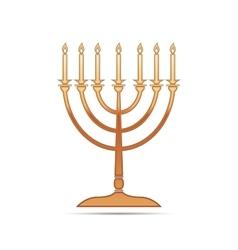 Gold Hanukkah menorah icon on white background vector image